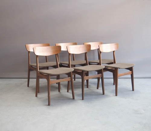 6 Design Stoelen.Deens Design Eettafel Stoelen Teak
