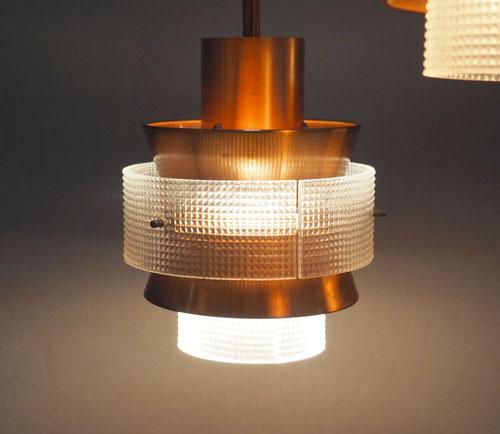 vintage design lampen deens design koper hanglamp 3 kelkjes. Black Bedroom Furniture Sets. Home Design Ideas