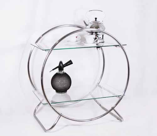 Theetafel Glas Chroom.Gispen Buisframe Bijzettafel