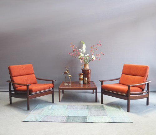 Oranje Design Fauteuil.Deens Design Palissander Fauteuils